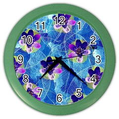 Purple Flowers Color Wall Clocks by DanaeStudio