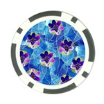 Purple Flowers Poker Chip Card Guards Back