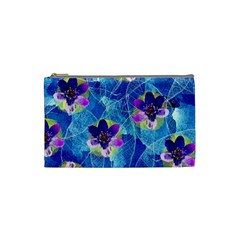 Purple Flowers Cosmetic Bag (small)  by DanaeStudio