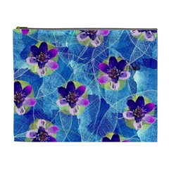 Purple Flowers Cosmetic Bag (xl) by DanaeStudio