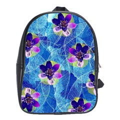 Purple Flowers School Bags(large)  by DanaeStudio