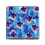 Purple Flowers Memory Card Reader (Square) Front