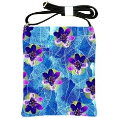 Purple Flowers Shoulder Sling Bags by DanaeStudio