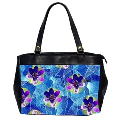 Purple Flowers Office Handbags (2 Sides)  by DanaeStudio