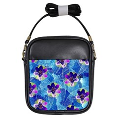 Purple Flowers Girls Sling Bags by DanaeStudio