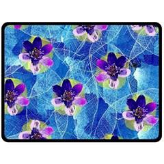 Purple Flowers Fleece Blanket (large)