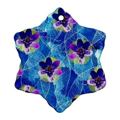 Purple Flowers Snowflake Ornament (2 Side) by DanaeStudio