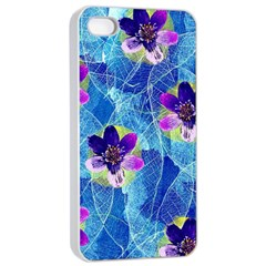 Purple Flowers Apple Iphone 4/4s Seamless Case (white) by DanaeStudio