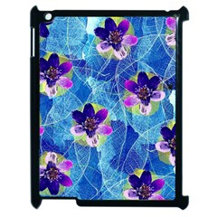 Purple Flowers Apple Ipad 2 Case (black) by DanaeStudio