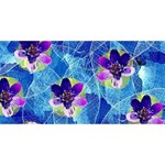 Purple Flowers Happy Birthday 3D Greeting Card (8x4) Back