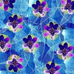 Purple Flowers PARTY 3D Greeting Card (8x4) Inside