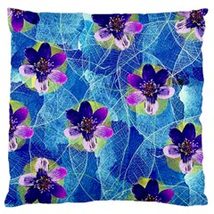 Purple Flowers Large Cushion Case (one Side) by DanaeStudio