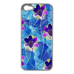 Purple Flowers Apple Iphone 5 Case (silver) by DanaeStudio