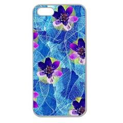 Purple Flowers Apple Seamless Iphone 5 Case (clear)