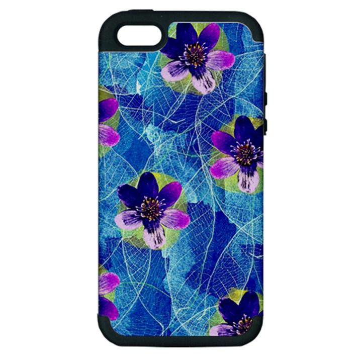 Purple Flowers Apple iPhone 5 Hardshell Case (PC+Silicone)
