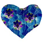 Purple Flowers Large 19  Premium Heart Shape Cushions