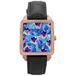 Purple Flowers Rose Gold Leather Watch  Front