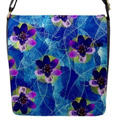 Purple Flowers Flap Messenger Bag (s)