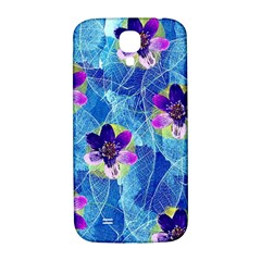 Purple Flowers Samsung Galaxy S4 I9500/i9505  Hardshell Back Case by DanaeStudio