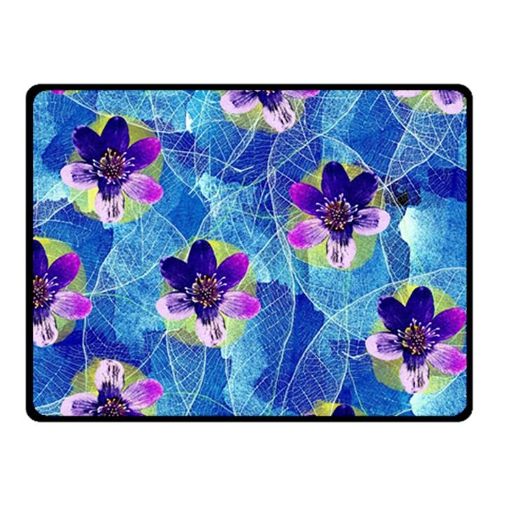 Purple Flowers Double Sided Fleece Blanket (Small)