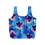 Purple Flowers Full Print Recycle Bags (S)  Back