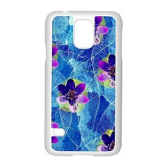 Purple Flowers Samsung Galaxy S5 Case (white) by DanaeStudio