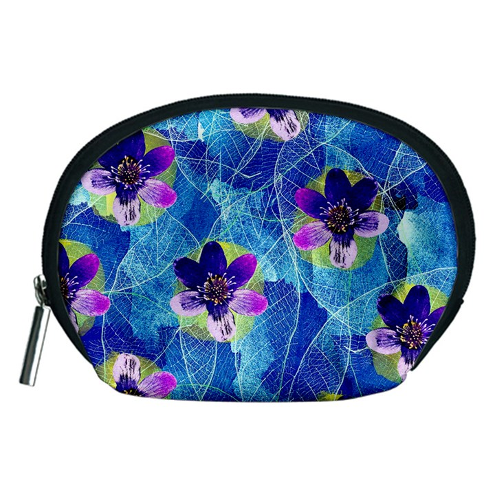 Purple Flowers Accessory Pouches (Medium)