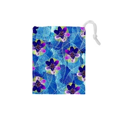 Purple Flowers Drawstring Pouches (small)