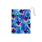 Purple Flowers Drawstring Pouches (Small)  Front