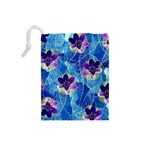 Purple Flowers Drawstring Pouches (Small)  Back