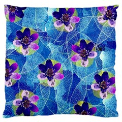 Purple Flowers Large Flano Cushion Case (two Sides) by DanaeStudio