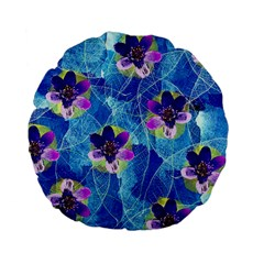 Purple Flowers Standard 15  Premium Flano Round Cushions by DanaeStudio