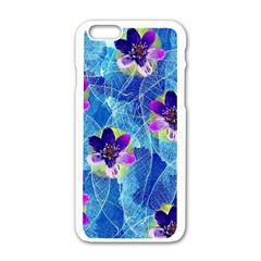 Purple Flowers Apple Iphone 6/6s White Enamel Case by DanaeStudio
