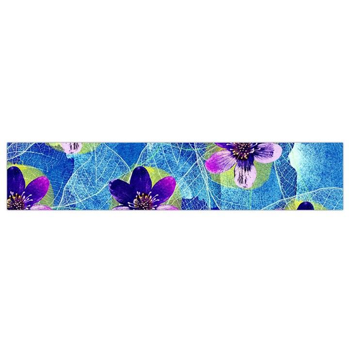 Purple Flowers Flano Scarf (Small)