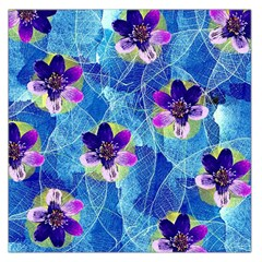 Purple Flowers Large Satin Scarf (square) by DanaeStudio