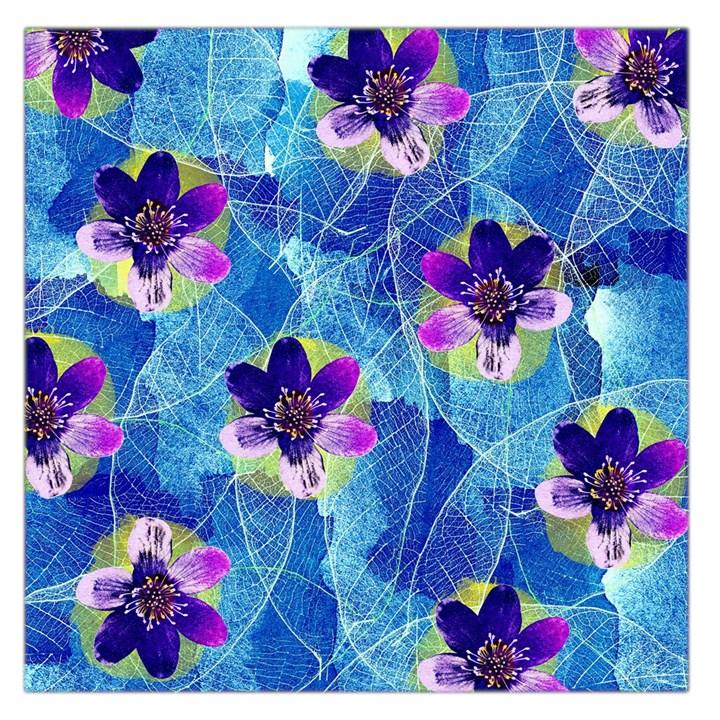 Purple Flowers Large Satin Scarf (Square)
