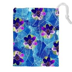 Purple Flowers Drawstring Pouches (XXL)