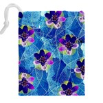 Purple Flowers Drawstring Pouches (XXL) Back