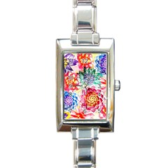 Colorful Succulents Rectangle Italian Charm Watch by DanaeStudio