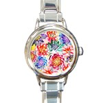 Colorful Succulents Round Italian Charm Watch Front