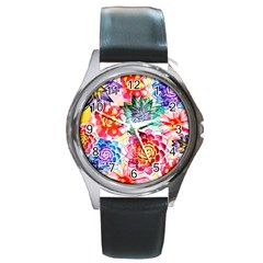 Colorful Succulents Round Metal Watch by DanaeStudio