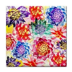 Colorful Succulents Tile Coasters
