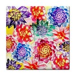 Colorful Succulents Tile Coasters Front