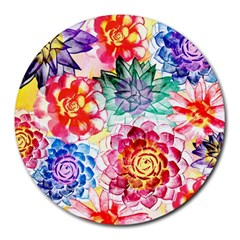 Colorful Succulents Round Mousepads by DanaeStudio
