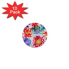 Colorful Succulents 1  Mini Buttons (10 Pack)  by DanaeStudio