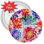 Colorful Succulents 3  Buttons (10 pack)  Front