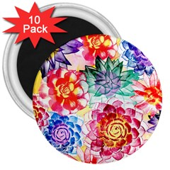 Colorful Succulents 3  Magnets (10 Pack)  by DanaeStudio