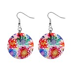 Colorful Succulents Mini Button Earrings Front