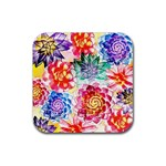 Colorful Succulents Rubber Coaster (Square)  Front