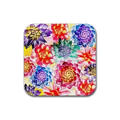 Colorful Succulents Rubber Square Coaster (4 Pack)